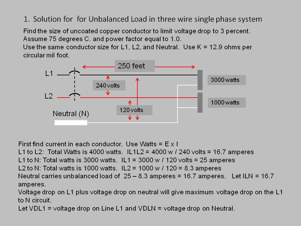 Voltage drop test 9 for an unbalanced load in a three wire 240120 volt system we need to find the conductors that will give the to find the correct size conductor to keyboard keysfo Choice Image